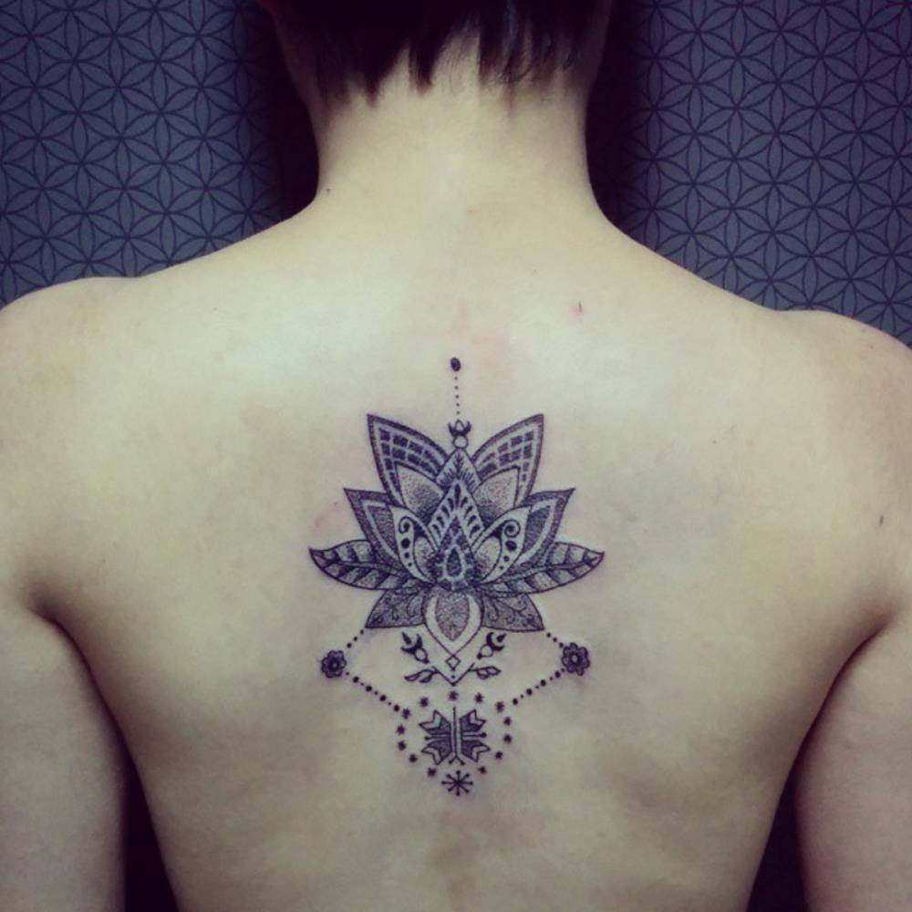 Little Back Tattoo Of A Lotus Flower