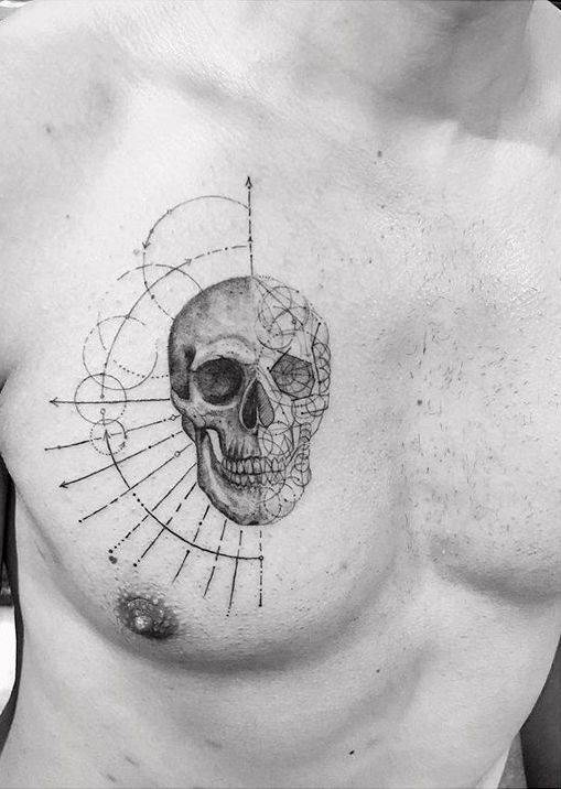 Single needle skull tattoo.