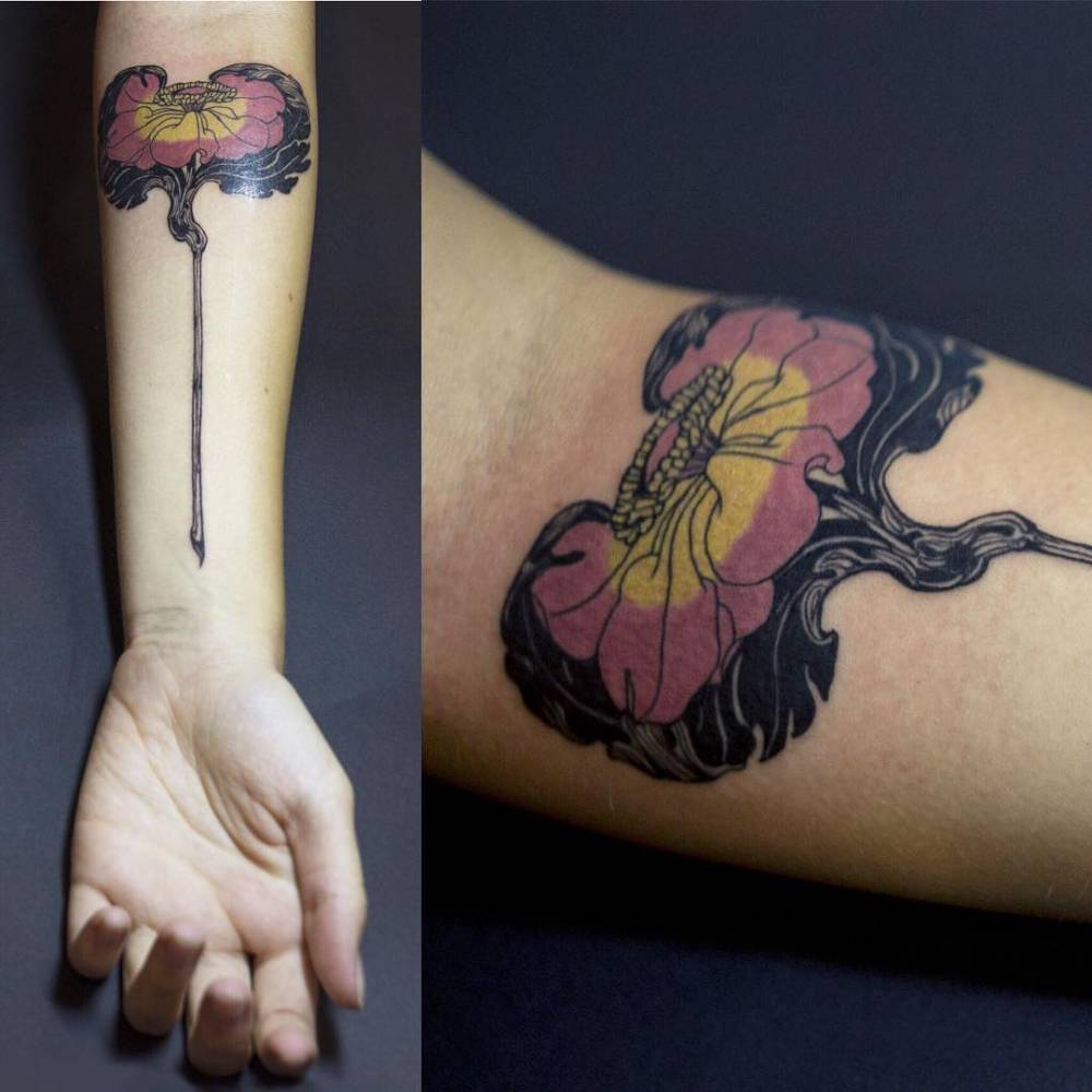 Art Nouveau Flower Tattoo Gis: Based On Old Art-nouveau Flower Illustration