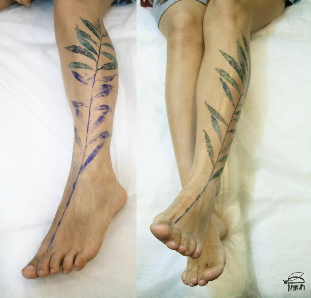 Willow Leaf Tattoo On The Left Leg Using A Real Leaf