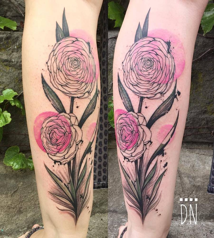 Freehand Camellia Flower Tattoo On Jen S Left Calf