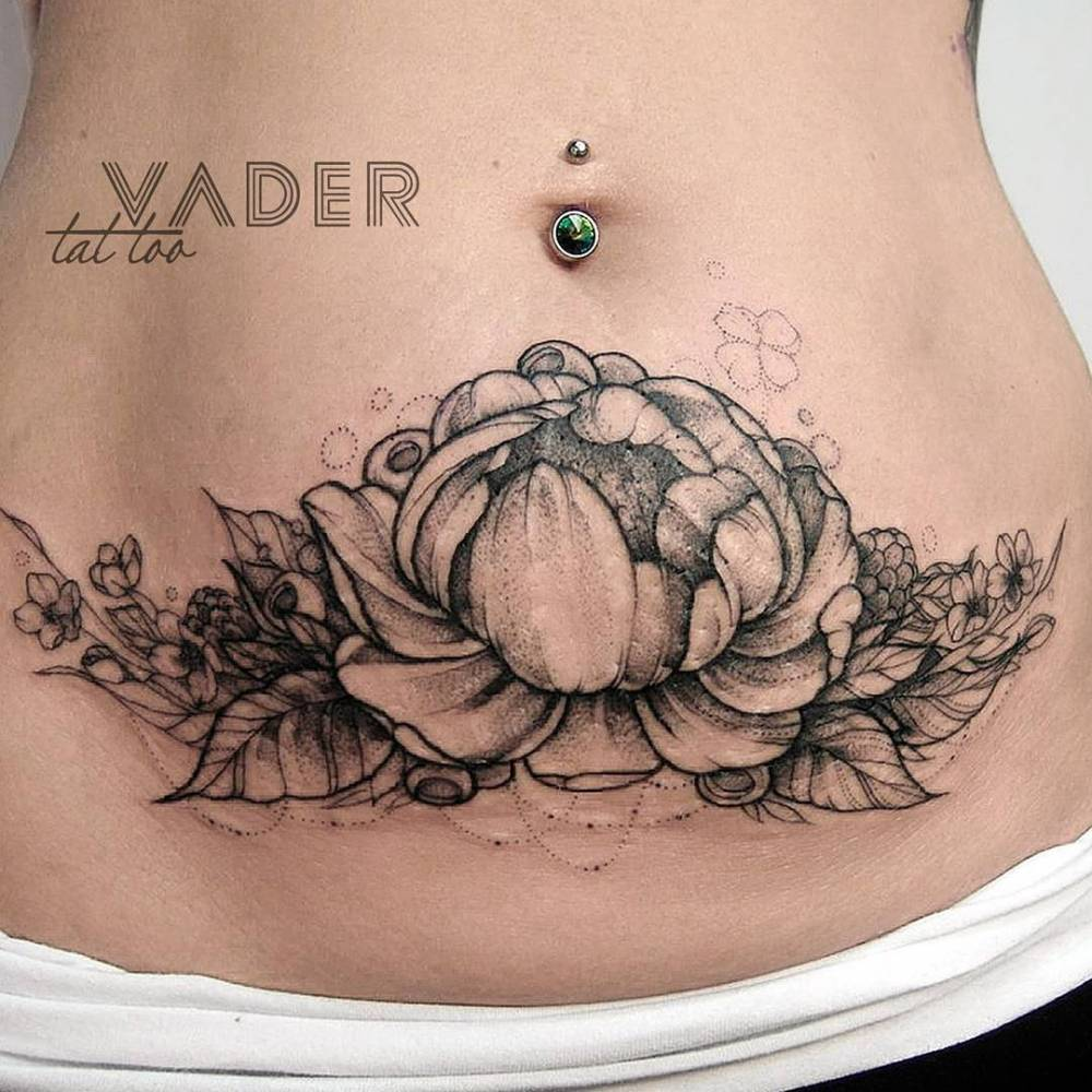 Peony Tattoo On Tanyas Stomach To Hide Stretch Marks