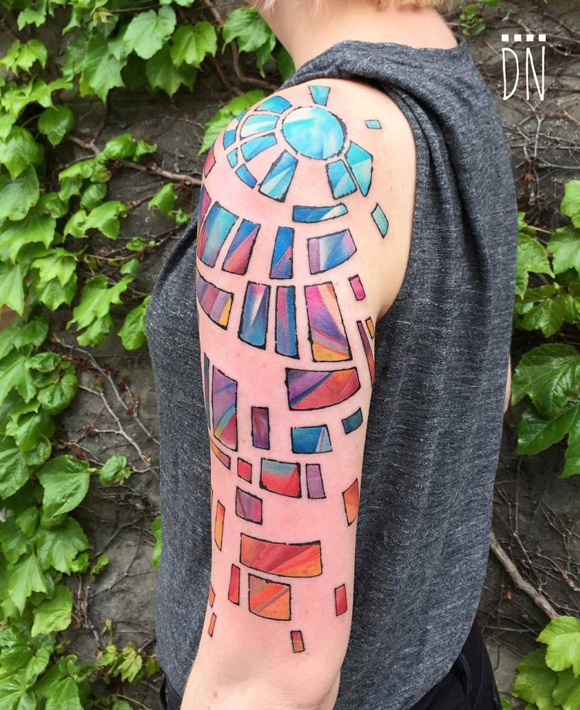Freehand Stained Glass Tattoo Inspired By A Church In