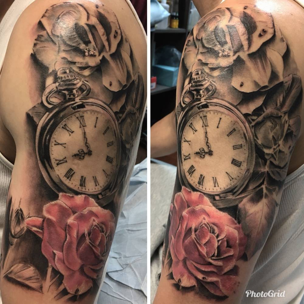 cover up, roses, pocket watch
