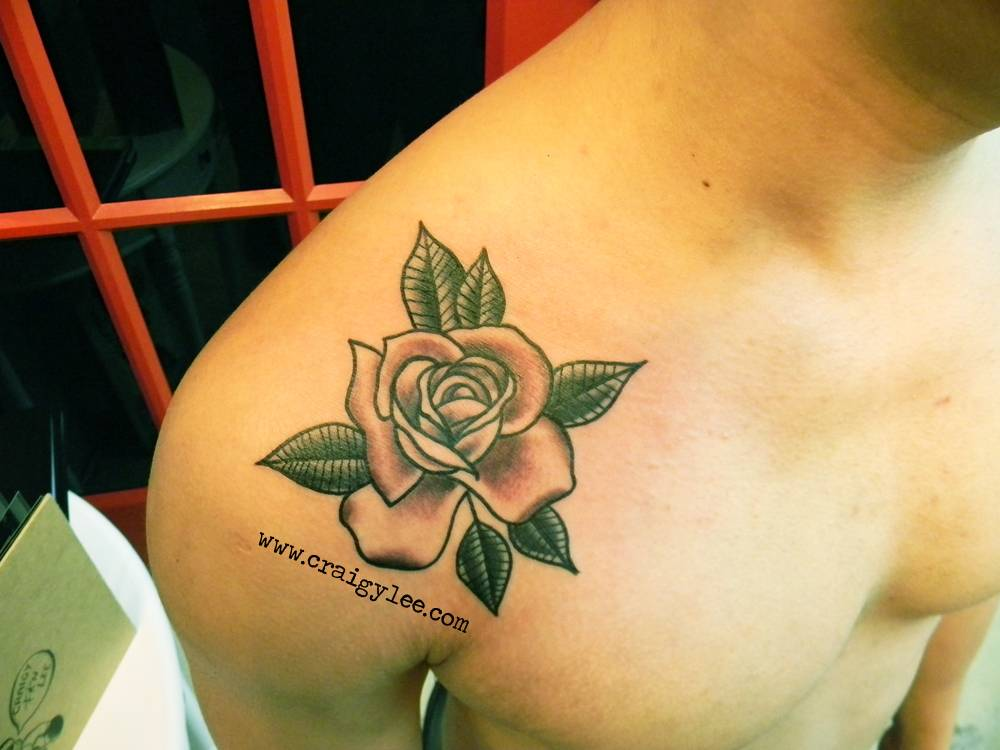 Shoulder Tattoo Of A Rose By Craigy Lee