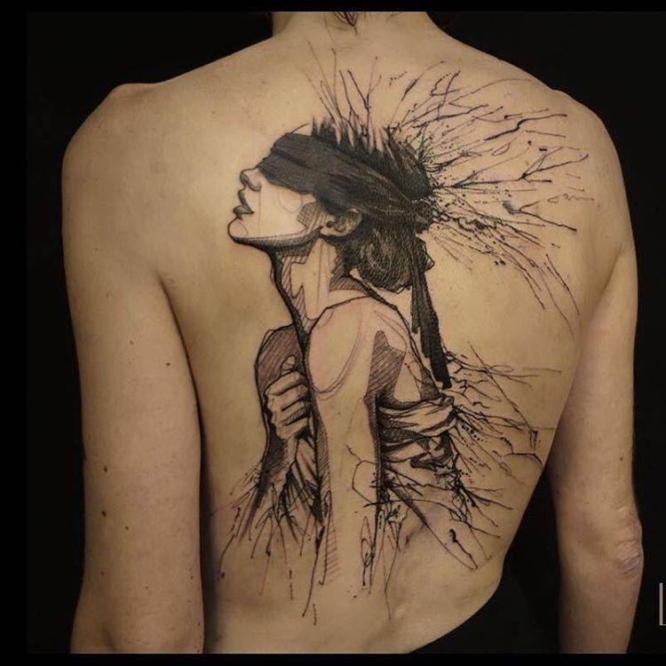 sketchy woman tattoo on the back. Black Bedroom Furniture Sets. Home Design Ideas
