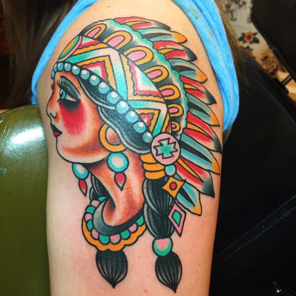 feeb90a943ac8 Description. Traditional style native American chief tattoo ...