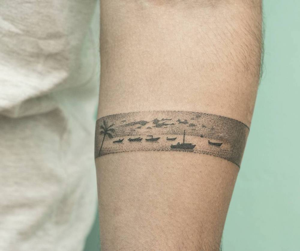 thailand inspired hand poked armband tattoo on the left. Black Bedroom Furniture Sets. Home Design Ideas