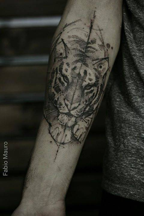 Sketch work style tiger tattoo on the right inner for Forearm tattoo sketches