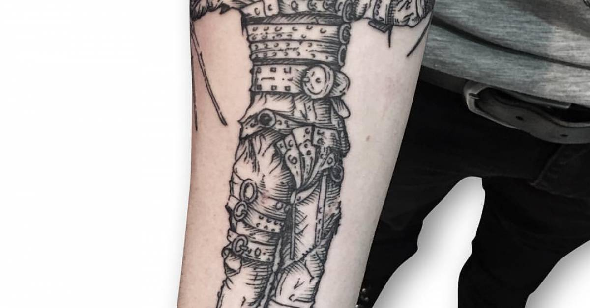 engraving style edward scissorhands tattoo done at the. Black Bedroom Furniture Sets. Home Design Ideas