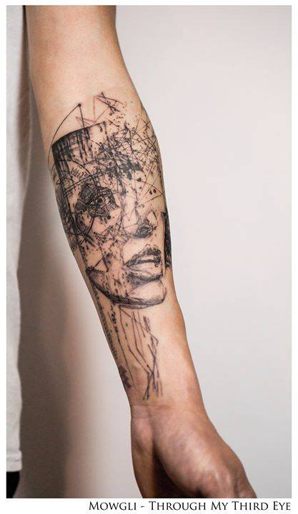 'Getting a little erratic here' by Mowgli, on Drew's left inner forearm.