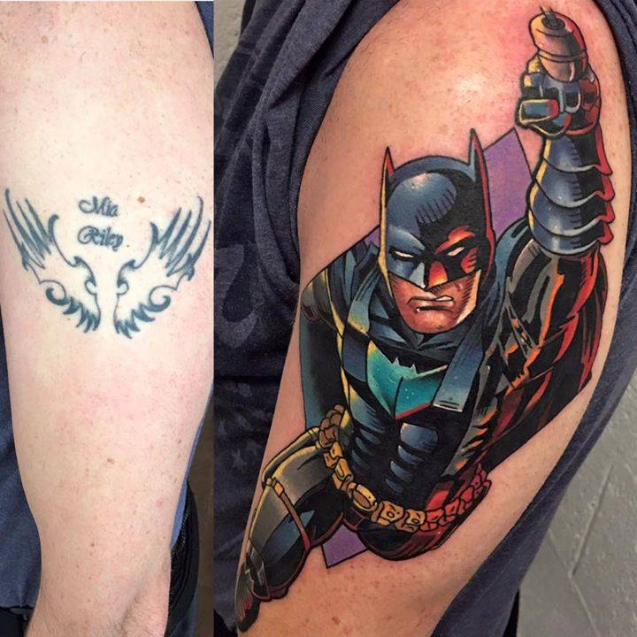 before and after batman cover up tattoo on the left. Black Bedroom Furniture Sets. Home Design Ideas