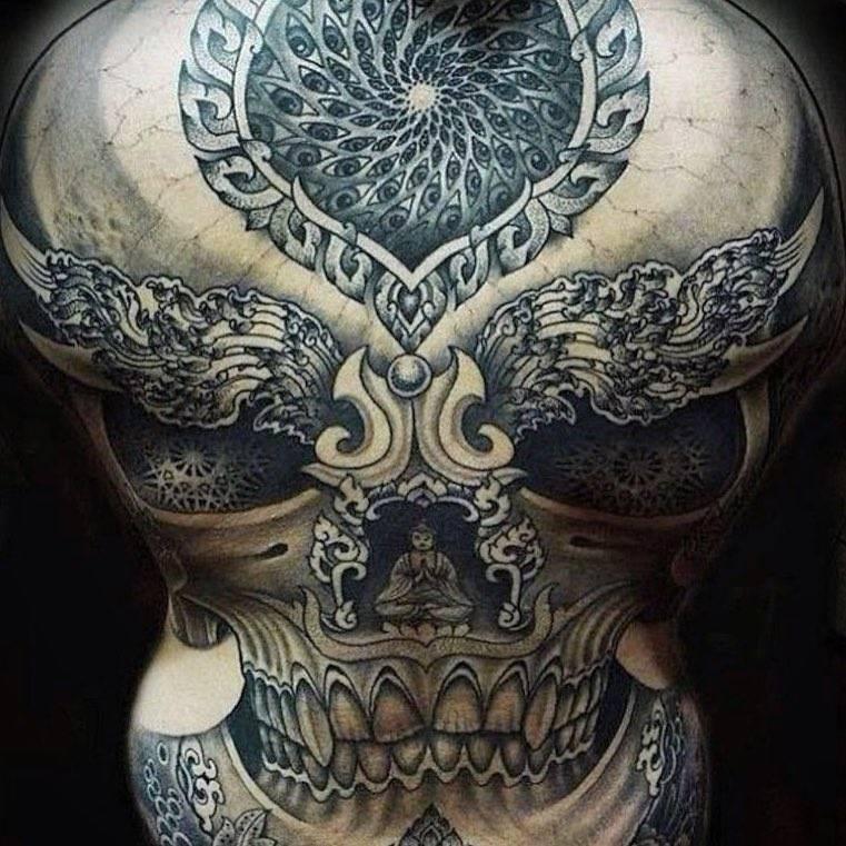 Skull Back Piece: Skull Backpiece Tattoo By Jondix