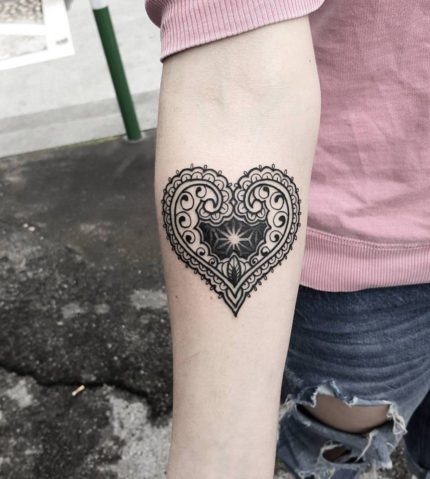 Heart Henna Tattoos: Henna Inspired Ornamental Heart Tattoo On The Right
