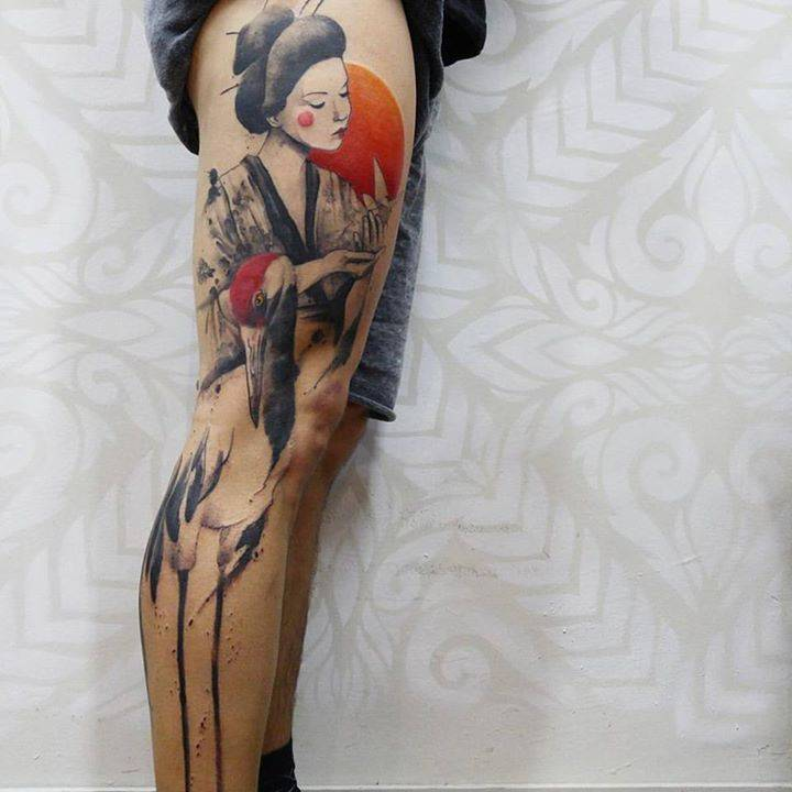Watercolor Red Crowned Crane And Geisha Tattoo On The