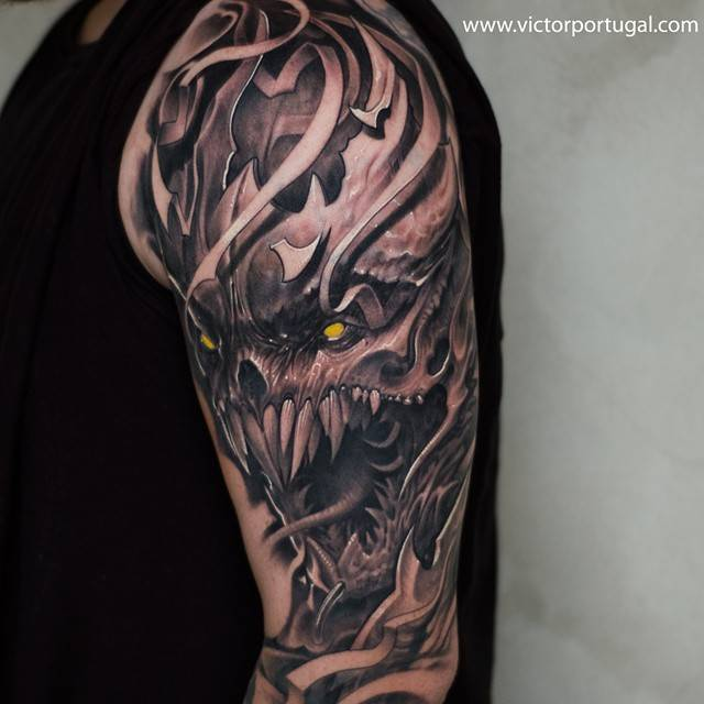 Horror themed black and grey style monster tattoo on for Monster tattoo designs