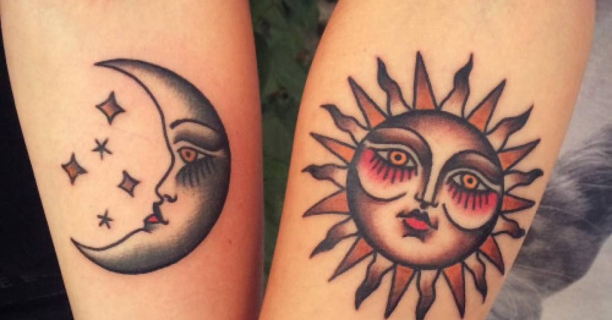 traditional matching sun and moon tattoos
