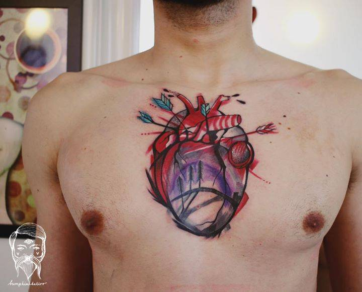sketchy anatomical heart tattoo on the chest design by. Black Bedroom Furniture Sets. Home Design Ideas