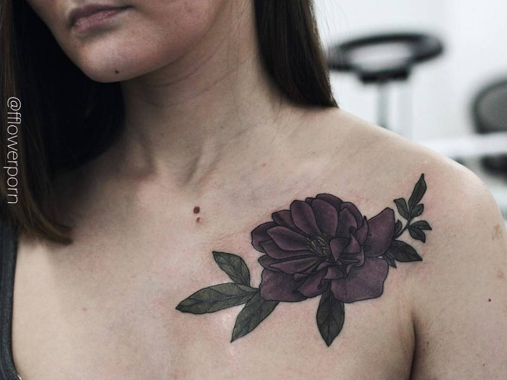 purple hellebore on the left side of the chest