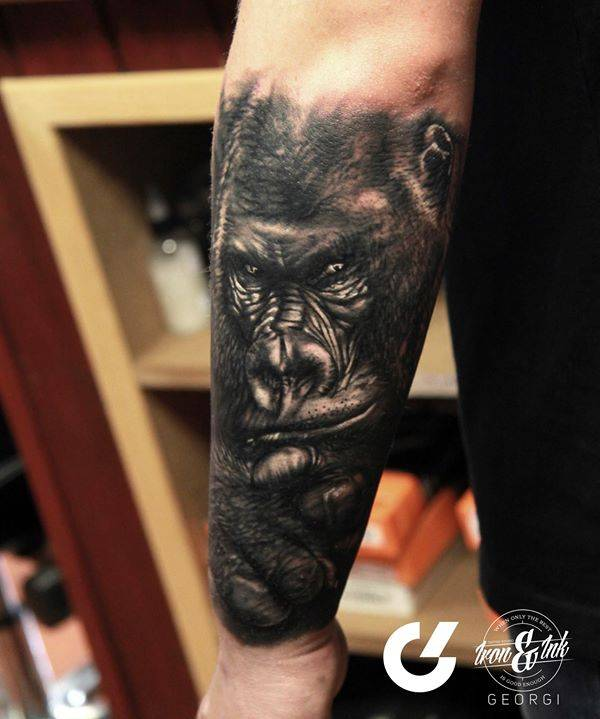 Black And Grey Style Gorilla Tattoo On The Left