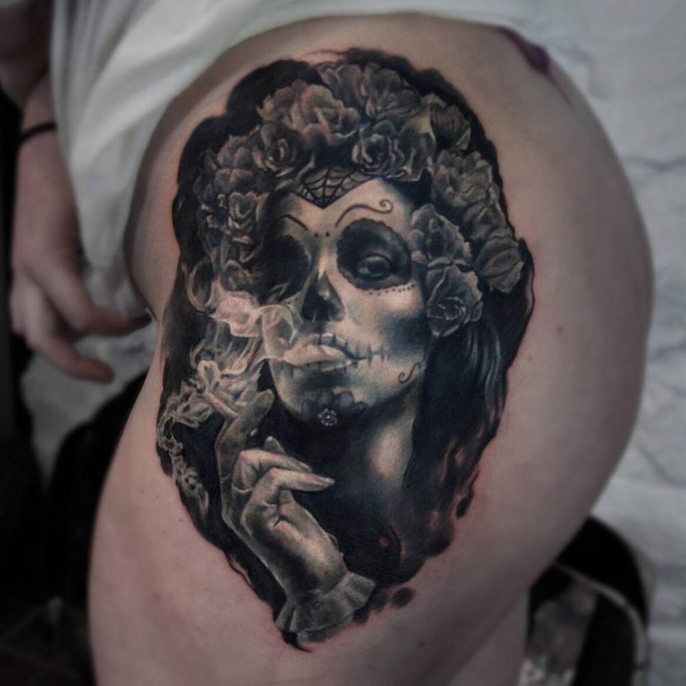 realistic la calavera catrina tattoo on the left side. Black Bedroom Furniture Sets. Home Design Ideas