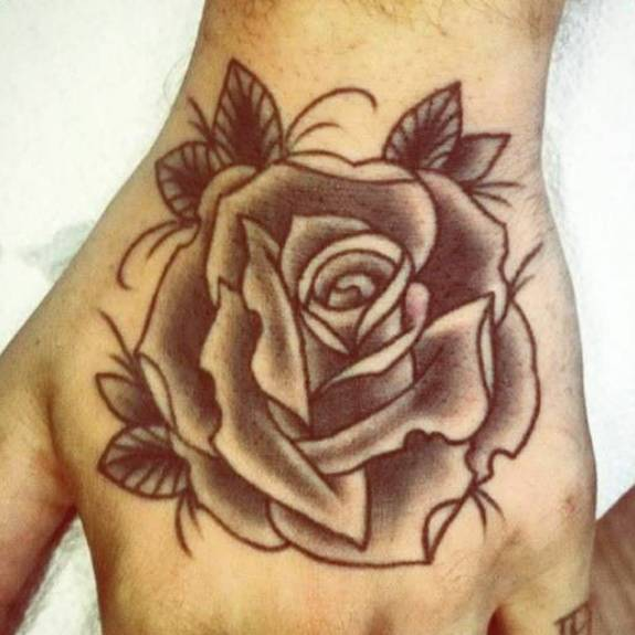 Rose Tattoo On The Hand By André De Camargo