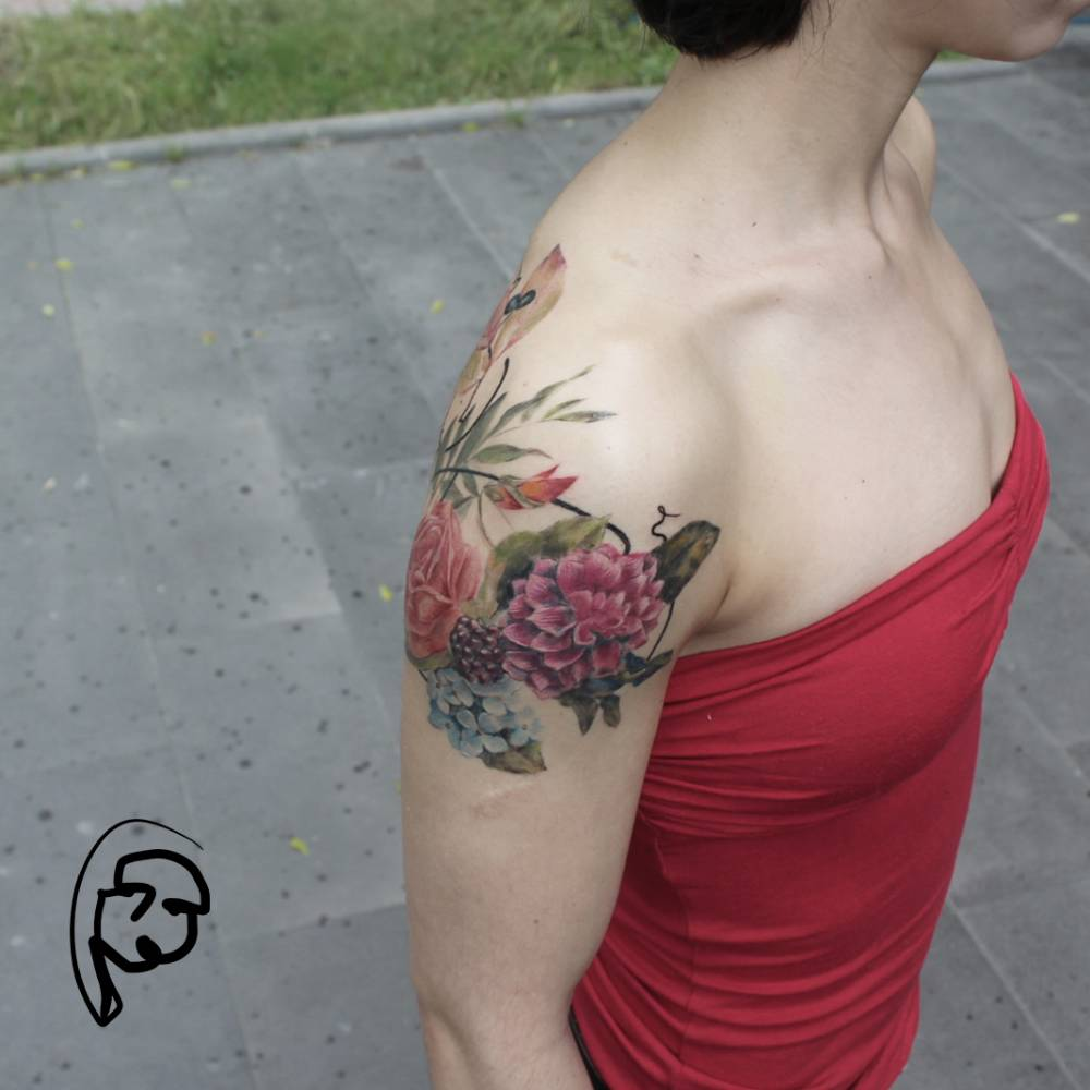 Illustrative Style Flower Bouquet Tattoos On The Right