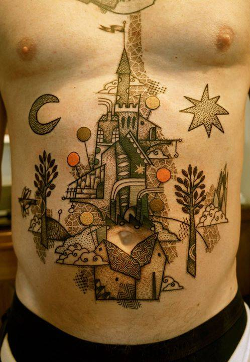 Illustrative castle tattoo.