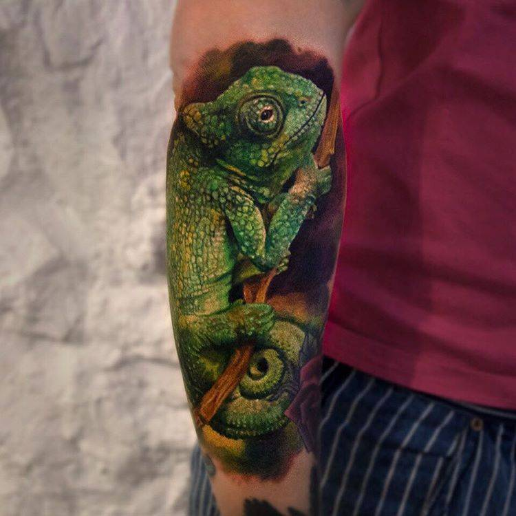 Chameleon Tattoo Finder: Realistic Chameleon Tattoo On The Right Forearm