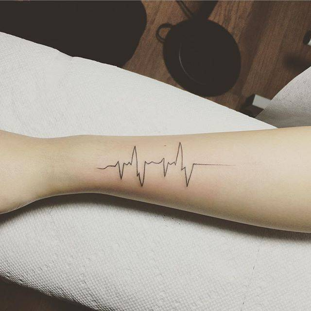 Heartbeat Tattoo On The Forearm