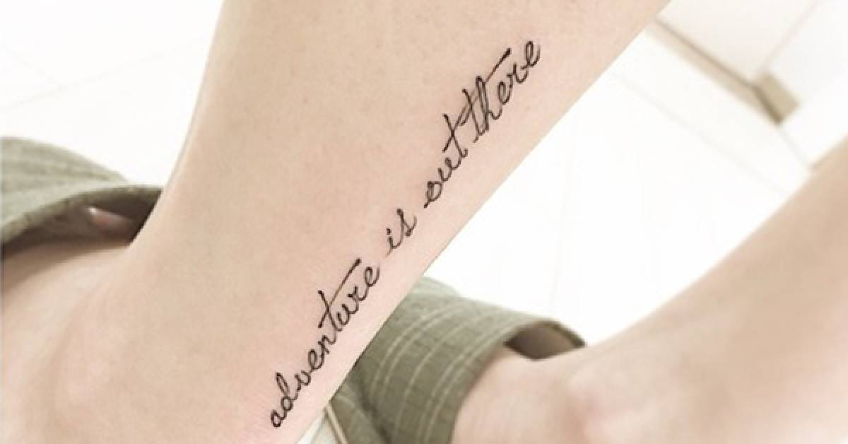 Aquiles tattoo saying adventure is out there for Adventure is out there tattoo