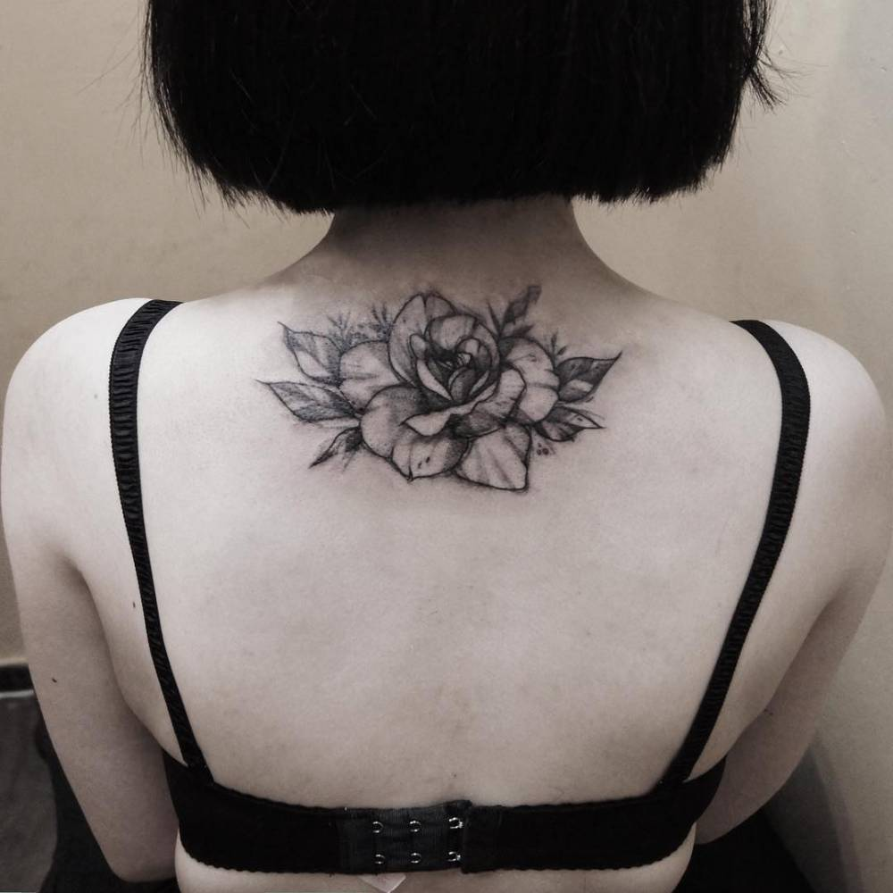 upper back tattoo of a rose. Black Bedroom Furniture Sets. Home Design Ideas