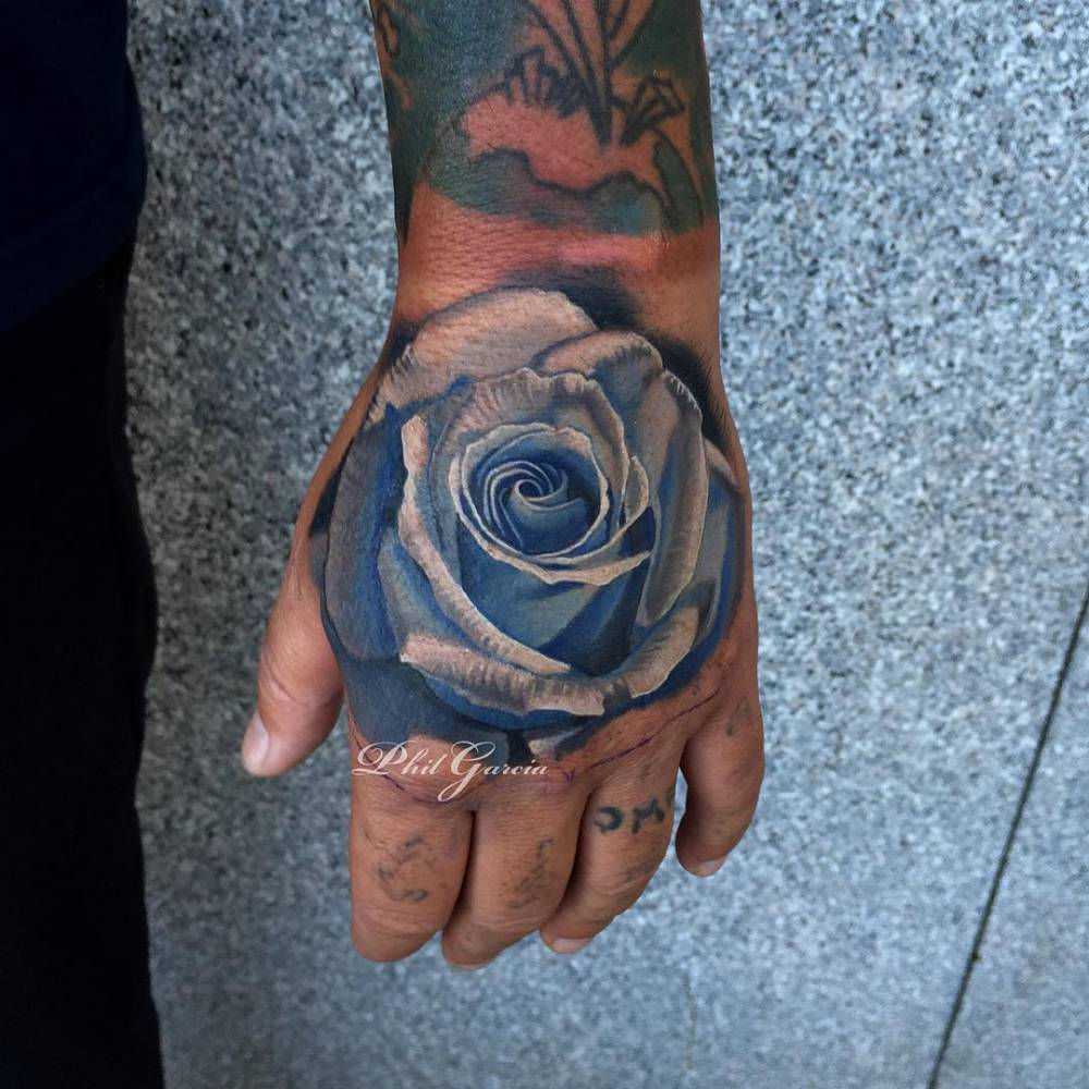 Blue Rose Tattoo On Marks Right Hand Done In Tahoe At