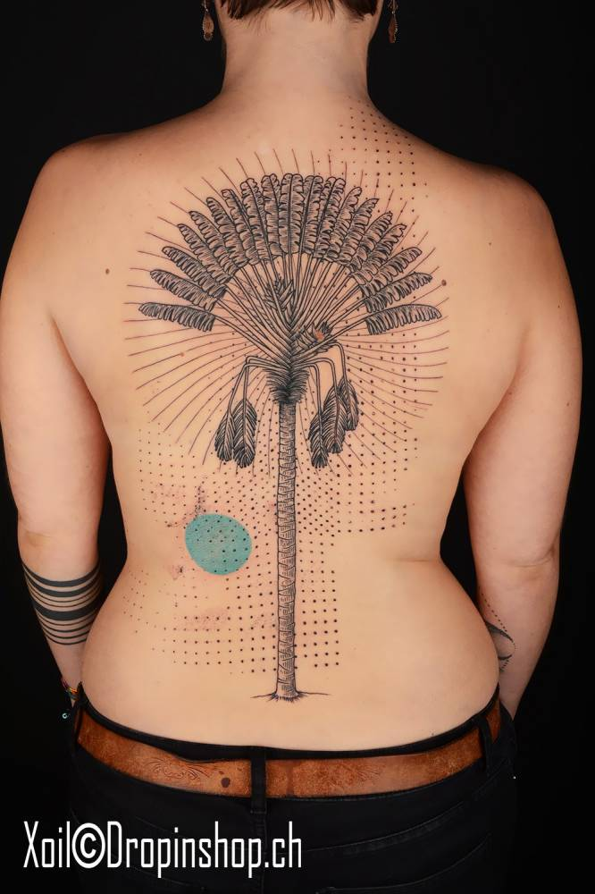 Graphic Style Tree Tattoo On The Back Theme