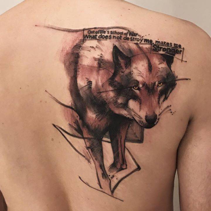 Sketch Work Wolf Tattoo On The Right Shoulder Blade