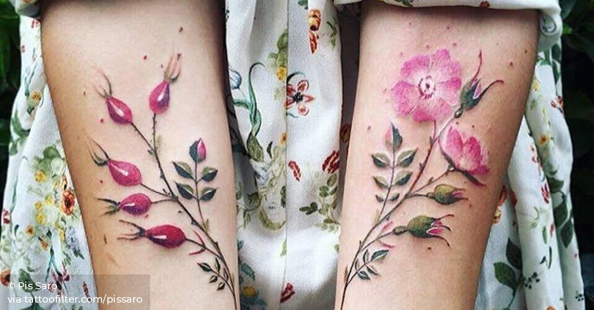 Matching Flower Tattoos On The Forearm