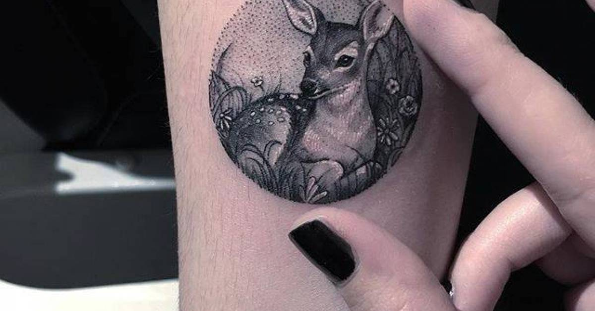 fawn tattoo on the right inner forearm. Black Bedroom Furniture Sets. Home Design Ideas