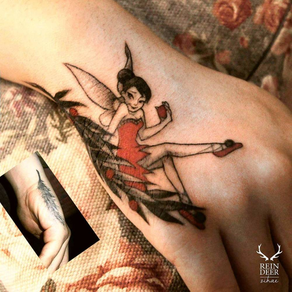Cover up tinker bell tattoo on the right hand.