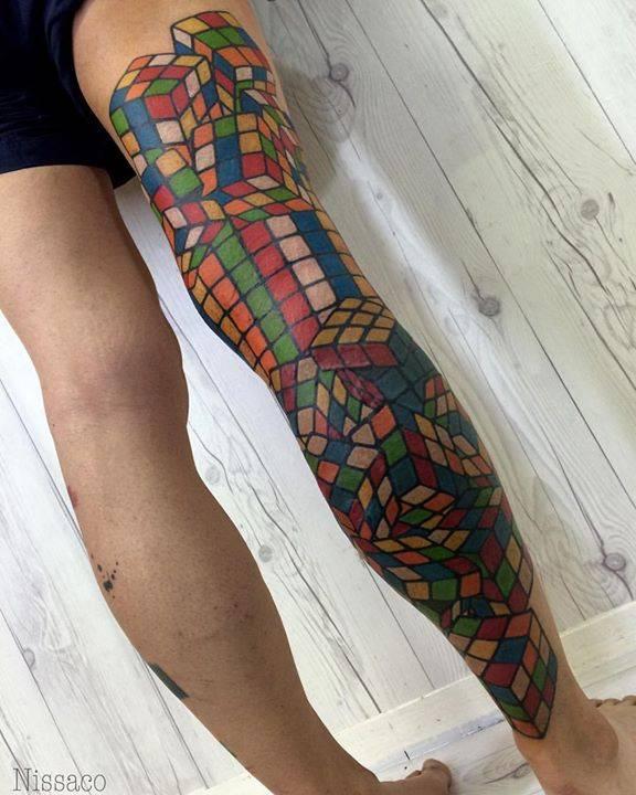 rubik 39 s cube leg sleeve tattoo all done thank you. Black Bedroom Furniture Sets. Home Design Ideas