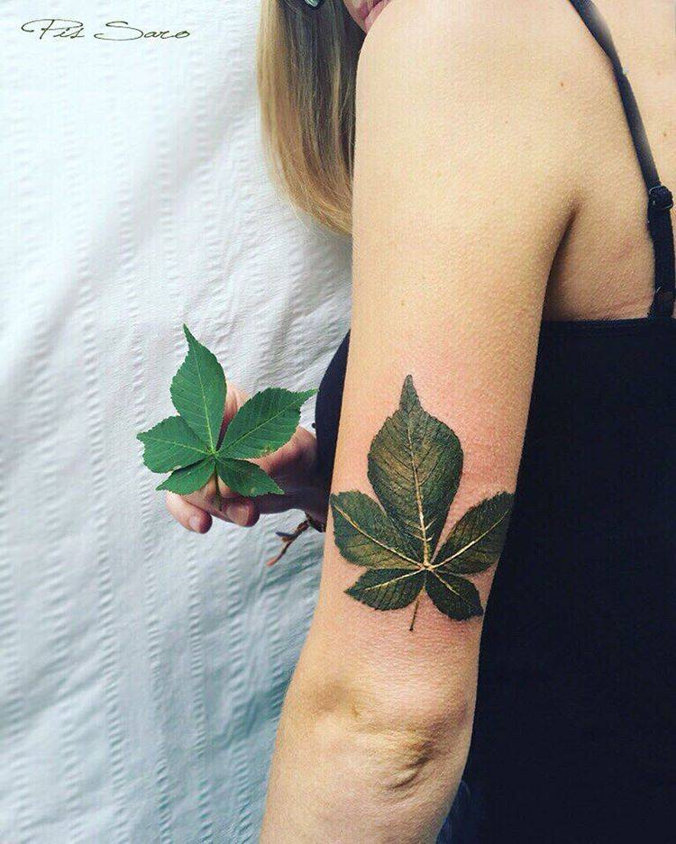 Chestnut leaf tattoo on the back of the left arm.