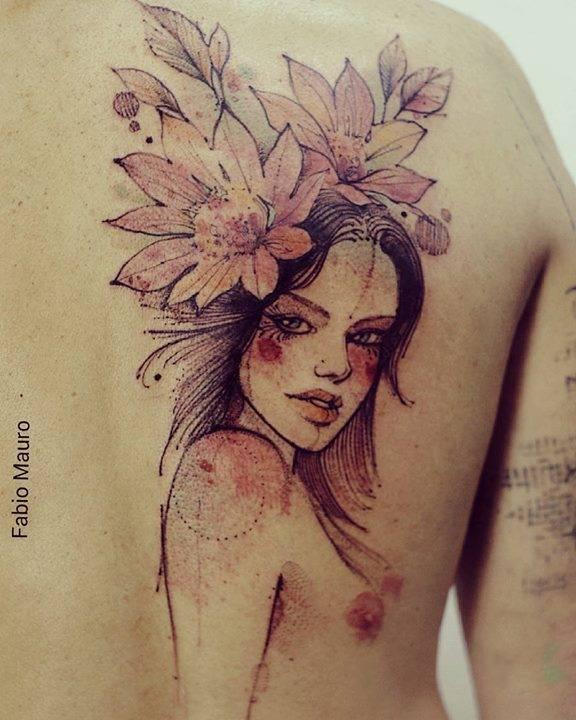 #fabiommauro #colour #girl #tattrx #tattoo #flowers #tattooart
