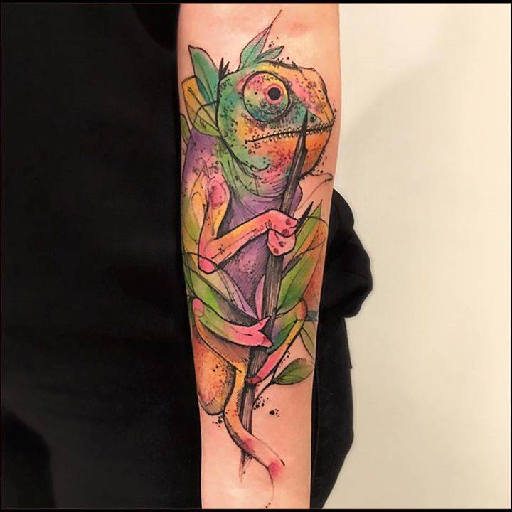 Chameleon Tattoo Finder: Sketchwork Chameleon Tattoo On The Forearm