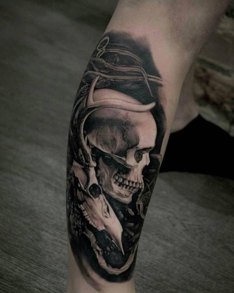 black and grey skull tattoo half leg sleeve in. Black Bedroom Furniture Sets. Home Design Ideas