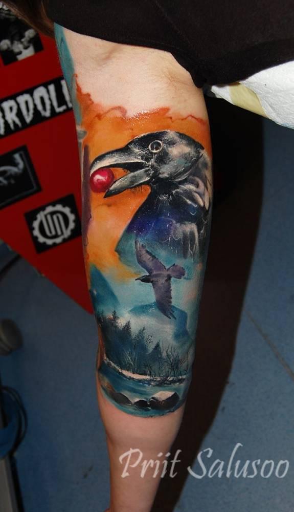 Raven sleeve tattoo.