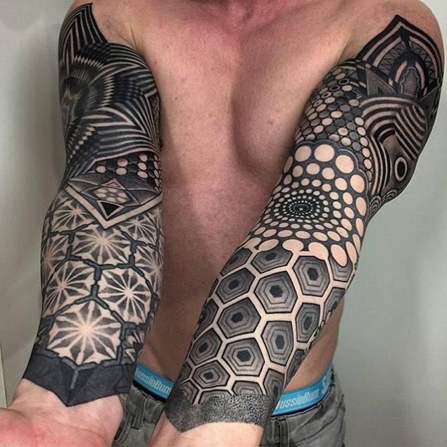 Blackwork geometric sleeve tattoos for Geometric arm tattoos for men