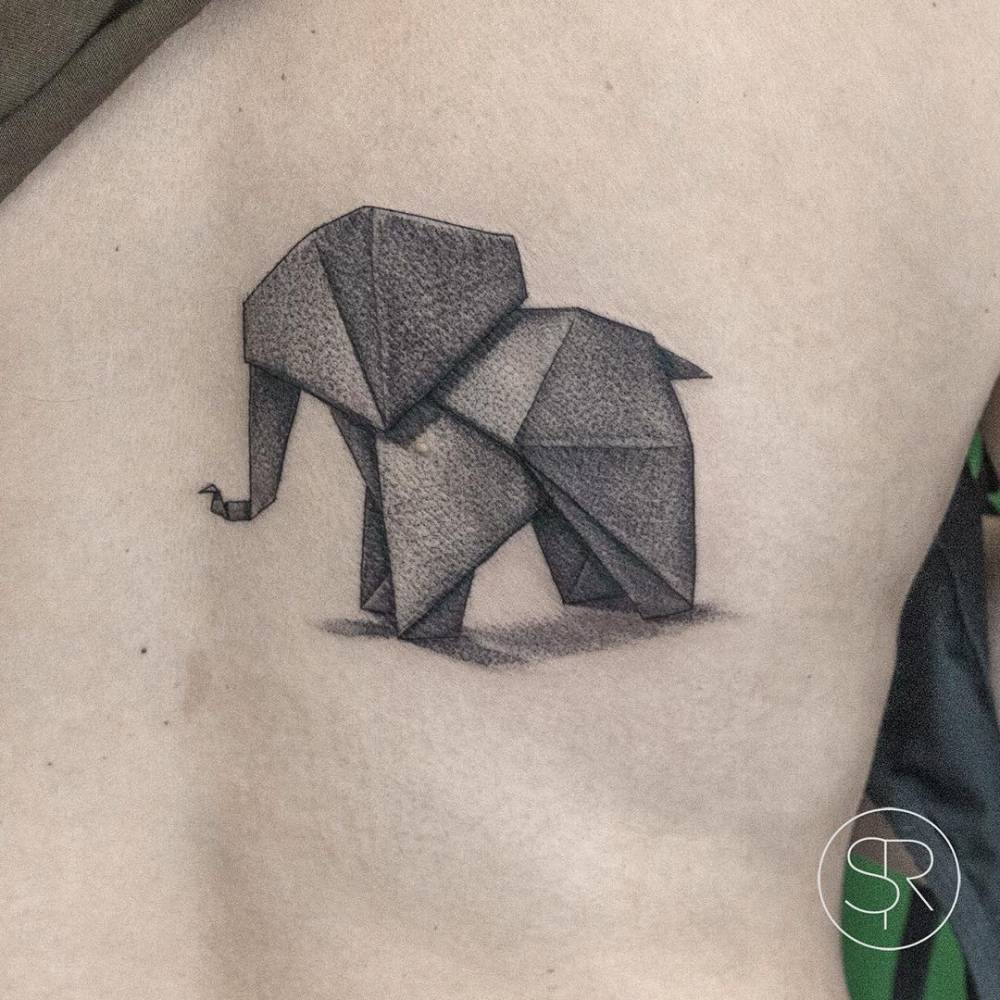 Fine Line Origami Elephant Tattoo On The Right Side Of Back