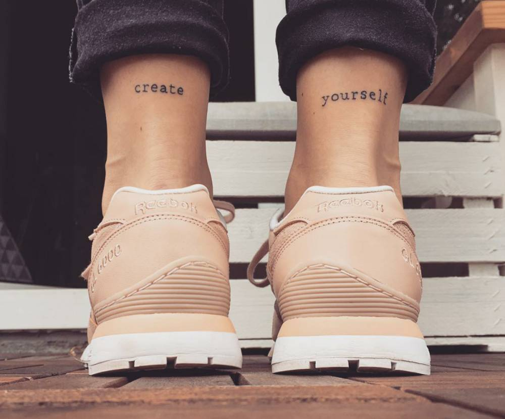 "Tattoo Small Details: Ankle Matching Tattoos Saying ""Create Yourself"" On"