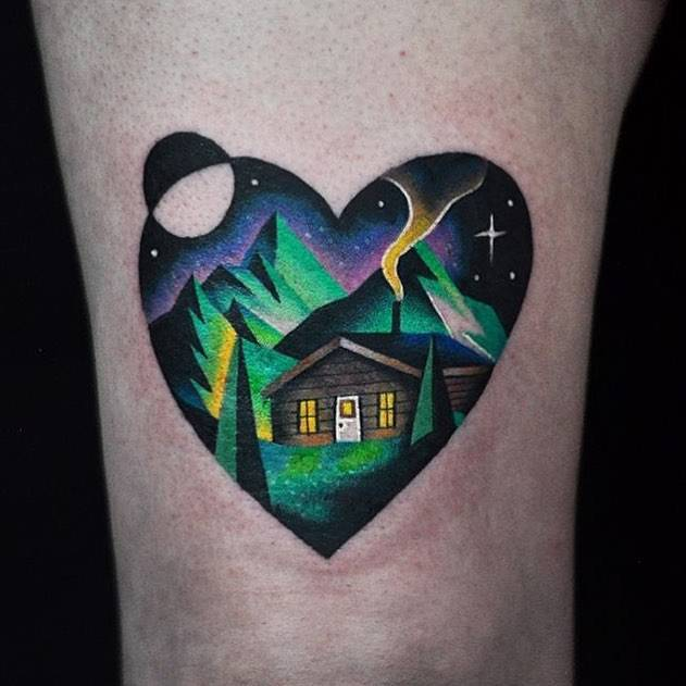 Double exporuse landscape heart tattoo on the thigh for Sang bleu tattoo