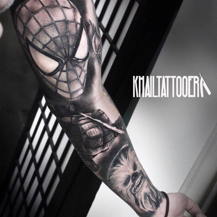 Black and grey spiderman and chewbacca sleeve for Marvel sleeve tattoo black and white