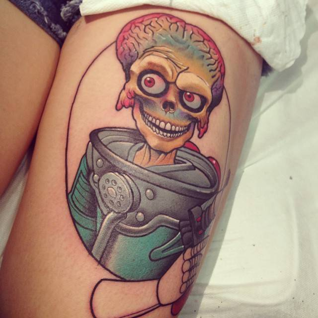 mars attacks inspired tattoo on the left thigh. Black Bedroom Furniture Sets. Home Design Ideas